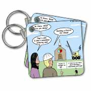 Modernism - Building a Church for Jesus Key Chain