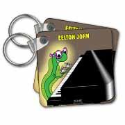 Eelton John the piano player Key Chain