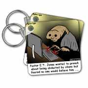 Religious Light Cartoon - Pastor ET Jones Alien Abduction Key Chain