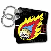 Blazing Angry Volleyball Crossing the Net Key Chain