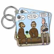 Dr. Jane Goodalls 50th anniversary at GDI - monkey business Key Chain