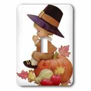 Vintage Pilgrim Boy on Pumpkin Light Switch Cover