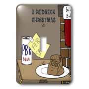 A redneck christmas eve Santa snack including beer and jerky Light Switch Cover