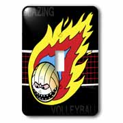 Blazing Angry Volleyball Crossing the Net Light Switch Cover