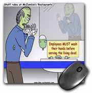 Halloween - Zombie Restaurant Warnings Mouse Pad