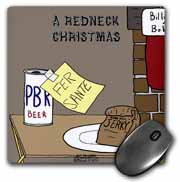 A redneck christmas eve Santa snack including beer and jerky Mouse Pad
