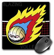 Blazing Angry Volleyball Crossing the Net Mouse Pad