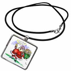 VAL Cartoon about Gift Card Giving for Christmas Necklace With Pendant