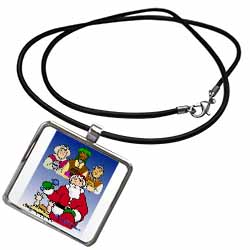 Larry Miller - Tribute to the Baby Jesus by the 3 Wisemen and Santa Necklace With Pendant