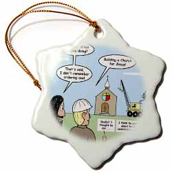 Modernism - Building a Church for Jesus Ornament