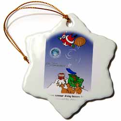 Larry Miller - Santa Takes Advantage of His Diving Lessons Ornament