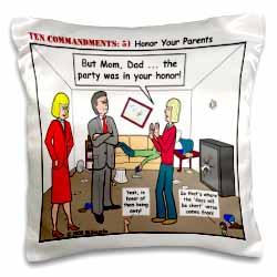 Ten Commandments 5 Honor Your Parents Pillow Case