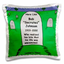 Unexamined Life Tombstone Pillow Case