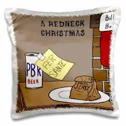 A redneck christmas eve Santa snack including beer and jerky Pillow Case