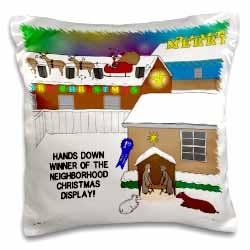 Simple Nativity Wins Neighborhood Christmas Display Contest Pillow Case