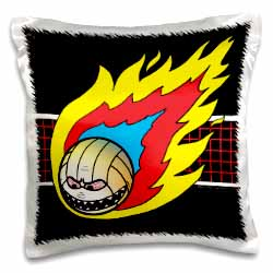 Blazing Angry Volleyball Crossing the Net Pillow Case