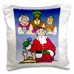 Larry Miller - Tribute to the Baby Jesus by the 3 Wisemen and Santa Pillow Case