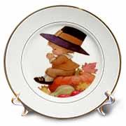 Vintage Pilgrim Boy on Pumpkin Plate