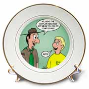 KNOTS cartoon - Scout confession and the chaplain aide Plate