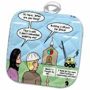 Modernism - Building a Church for Jesus Potholder