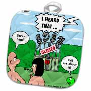 Adam and Eve - Lock-out at the Garden of Eden Potholder