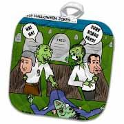 Halloween - Zombie Practical Jokes - Clinton and Nixon Masks Potholder