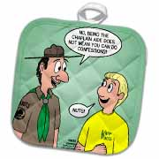 KNOTS cartoon - Scout confession and the chaplain aide Potholder
