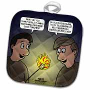 Knots Cartoon - Burnt Marshmallow smores - yum Potholder