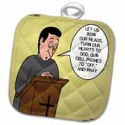 Prayer and Cell Phones Potholder