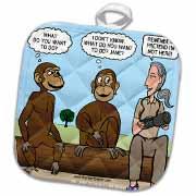 Dr. Jane Goodalls 50th anniversary at GDI - monkey business Potholder