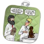 Rhesus or Reeses Monkey - laboratory dilemmas Potholder
