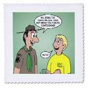 KNOTS cartoon - Scout confession and the chaplain aide Quilt Square