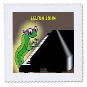 Eelton John the piano player Quilt Square