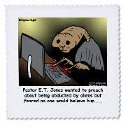 Religious Light Cartoon - Pastor ET Jones Alien Abduction Quilt Square