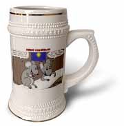 Rich Diesslin Mice Contemplate the Baby Jesus at Christmas Stein Mug
