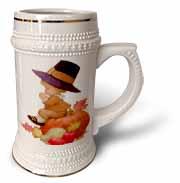 Vintage Pilgrim Boy on Pumpkin Stein Mug