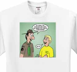 KNOTS cartoon - Scout confession and the chaplain aide T-Shirt