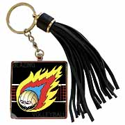 Blazing Angry Volleyball Crossing the Net Tassel Key Chain