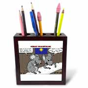 Rich Diesslin Mice Contemplate the Baby Jesus at Christmas Tile Pen Holder