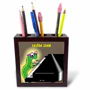 Eelton John the piano player Tile Pen Holder