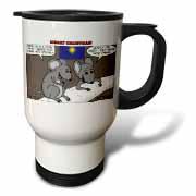 Rich Diesslin Mice Contemplate the Baby Jesus at Christmas Travel Mug
