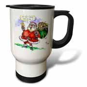 VAL Cartoon about Gift Card Giving for Christmas Travel Mug