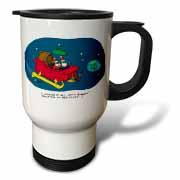 Nelson Dewey - Alien Craft Resembles Santas Sleigh Travel Mug