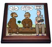 Dr. Jane Goodalls 50th anniversary at GDI - monkey business Trivet