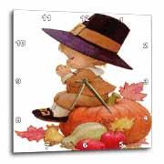 Vintage Pilgrim Boy on Pumpkin Wall Clock