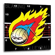 Blazing Angry Volleyball Crossing the Net Wall Clock