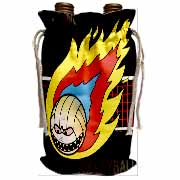 Blazing Angry Volleyball Crossing the Net Wine Bag