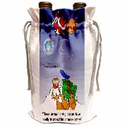 Larry Miller - Santa Takes Advantage of His Diving Lessons Wine Bag