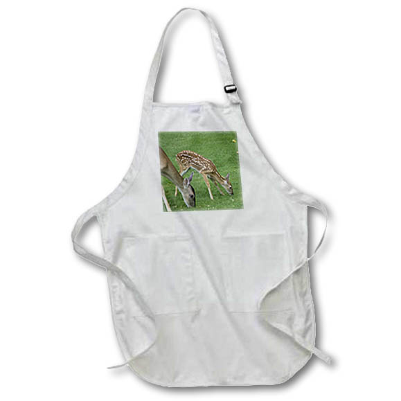 3dRose - Angel Wings Designs Wildlife - New Born Baby II - Fawn with Mother Deer - Aprons