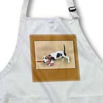 click on Digital painting of a Bassett hound puppy pulling on the leash Lead The Way to enlarge!